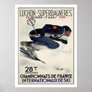Poster Affiche avec l'affiche fraîche de ski de France