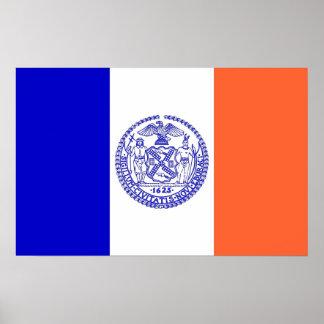 Poster Affiche avec le drapeau de New York, Etats-Unis