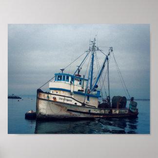 Poster Affiche - bateau de pêche de baie de Monterey San