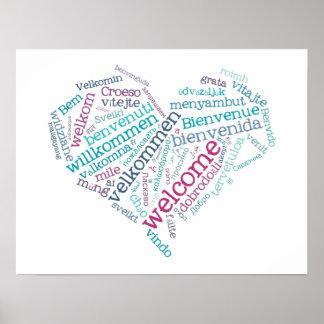 Poster Affiche bienvenue de coeur (beaucoup de langues)