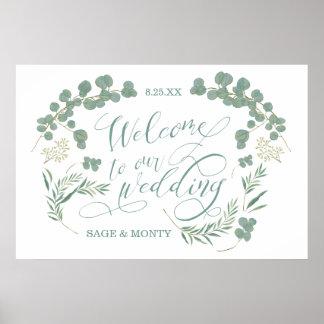 Poster Affiche bienvenue de mariage de feuille vert