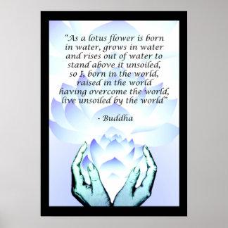 Poster Affiche bleue 2 de citation de fleur de Lotus