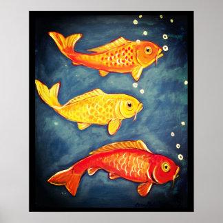 Poster Affiche bleue d'art de poisson rouge de jaune