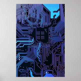 Poster Affiche bleue fraîche de carte d'ordinateur