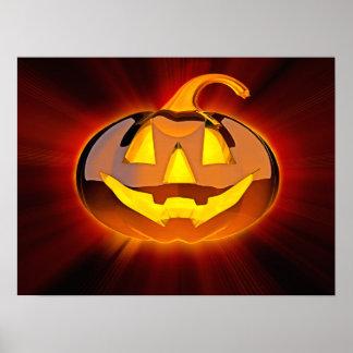 Poster Affiche brillante de citrouille de Halloween