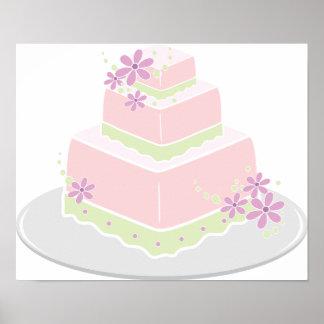 Poster Affiche carrée de gâteau de mariage