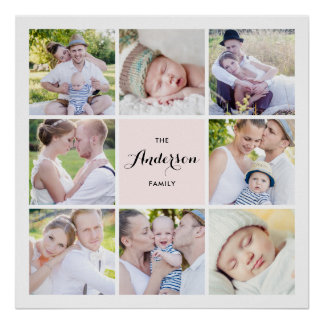 Poster Affiche carrée rose de collage de photo de famille