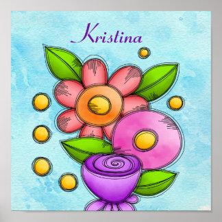Poster Affiche charmée de fleur de griffonnage