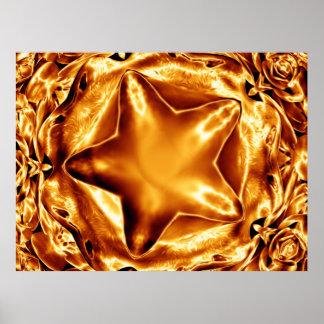 Poster Affiche chic d'or d'en cuivre d'étoile élégante de