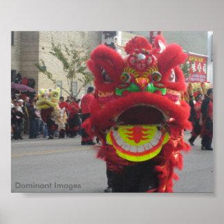 Poster Affiche chinoise de dragon