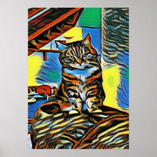 Poster Affiche colorée de chat