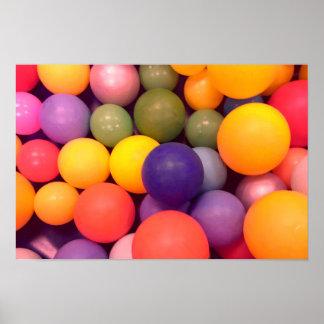 Poster Affiche colorée de motif de mine de boule