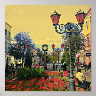 Poster Affiche colorée de paysage urbain