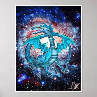 Poster Affiche cosmique de dragon de turquoise