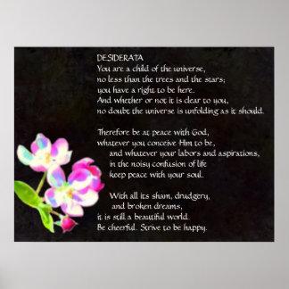 Poster Affiche cosmique de fleurs de DESIDERATA