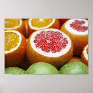 Poster Affiche d'agrumes d'orange sanguine