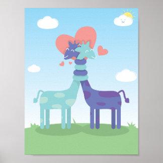 Poster Affiche d'amour de girafes
