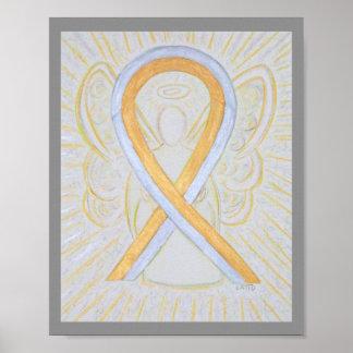 Poster Affiche d'ange de ruban de conscience d'argent et