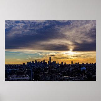 Poster Affiche d'antenne de coucher du soleil de New York