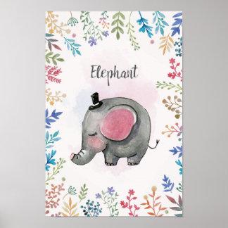 Poster Affiche d'aquarelle d'éléphant
