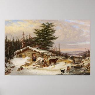 Poster Affiche d'art de cabane en rondins d'hiver