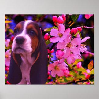 Poster Affiche d'art de chien de fleurs de chiot de