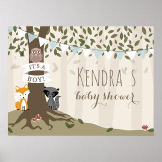 Poster Affiche de baby shower de garçon de créatures de