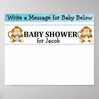 Poster Affiche de baby shower de singe de souvenir de