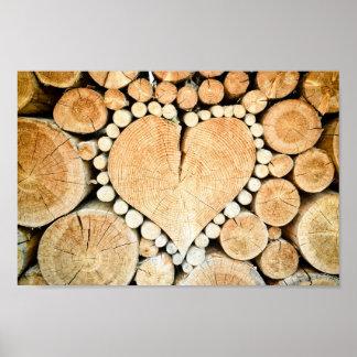Poster Affiche de bois de chauffage de rondin de coeur