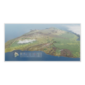 Poster Affiche de carte de volcans d'Hawaï