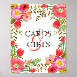 Poster Affiche de cartes et de cadeaux de vin et de
