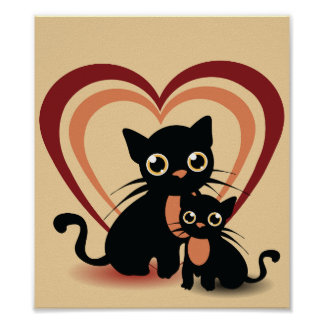 Poster Affiche de chats noirs d'amour