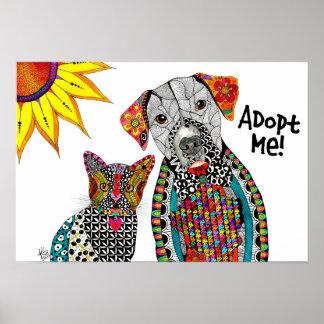 Poster Affiche de chien et de chat (vous pouvez
