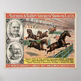 Poster Affiche de cirque de chevaux de course de pur sang