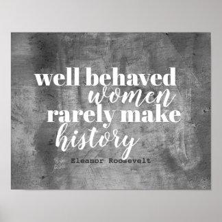Poster Affiche de citation d'Eleanor Roosevelt sur des