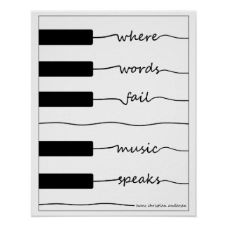 Poster Affiche de clavier de piano avec la citation