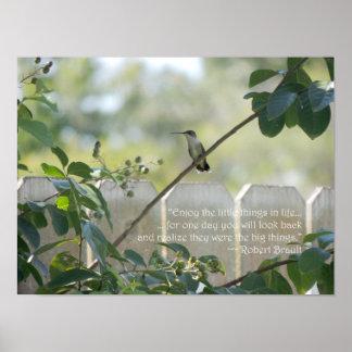 """Poster Affiche de colibri avec la citation de """"petites"""