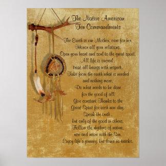 Poster Affiche de commandements du Natif américain Dix