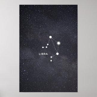 Poster Affiche de constellation de zodiaque de Balance