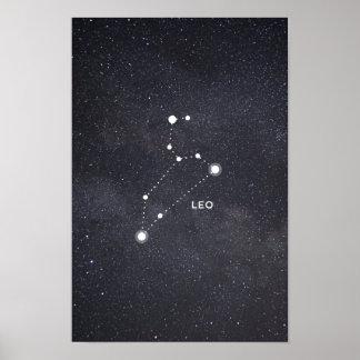 Poster Affiche de constellation de zodiaque de Lion