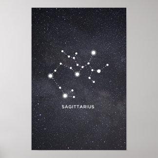 Poster Affiche de constellation de zodiaque de Sagittaire