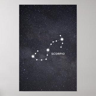 Poster Affiche de constellation de zodiaque de Scorpion