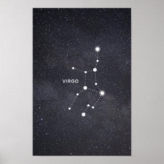 Poster Affiche de constellation de zodiaque de Vierge