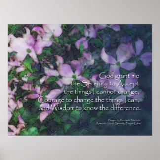 Poster Affiche de cornouiller de prière de sérénité