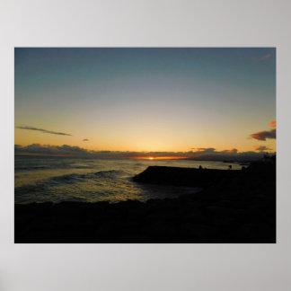 Poster Affiche de coucher du soleil d'Hawaï