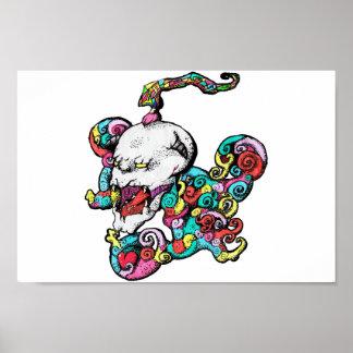 Poster Affiche de crâne de coeur de démon