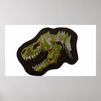 Poster Affiche de crâne de dinosaure de zombi