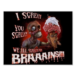 Poster affiche de crème glacée de zombi