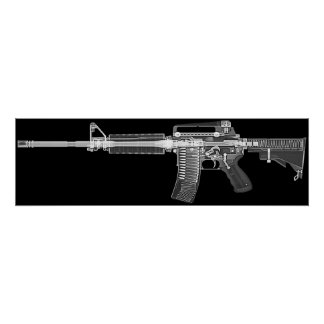 Poster Affiche de CT/X-ray du vrai fusil AR-15 ! Détail