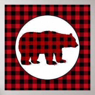 Poster Affiche de cuisine d'ours de plaid de buffle de